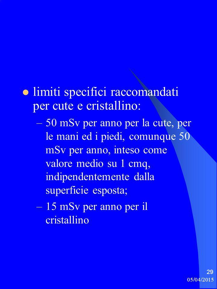 limiti specifici raccomandati per cute e cristallino: