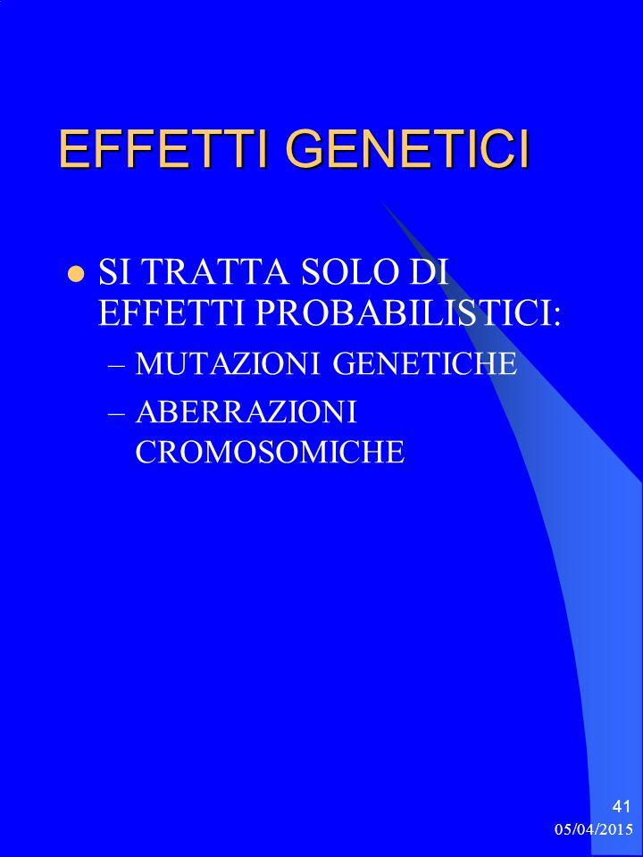 EFFETTI GENETICI SI TRATTA SOLO DI EFFETTI PROBABILISTICI: