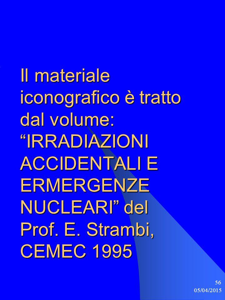 Il materiale iconografico è tratto dal volume: IRRADIAZIONI ACCIDENTALI E ERMERGENZE NUCLEARI del Prof. E. Strambi, CEMEC 1995