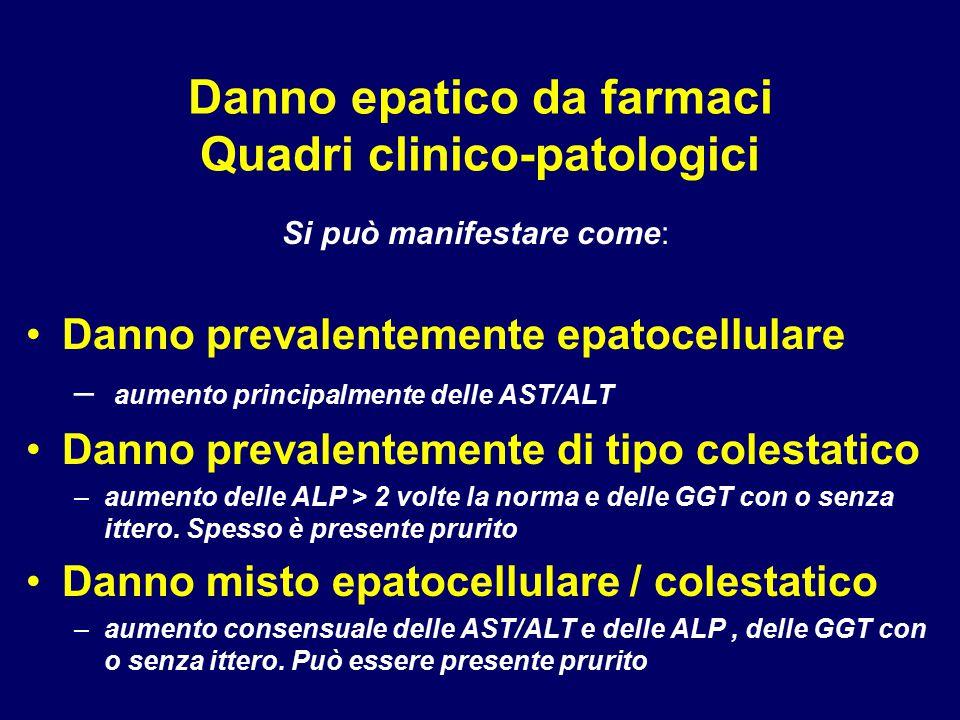 Danno epatico da farmaci Quadri clinico-patologici