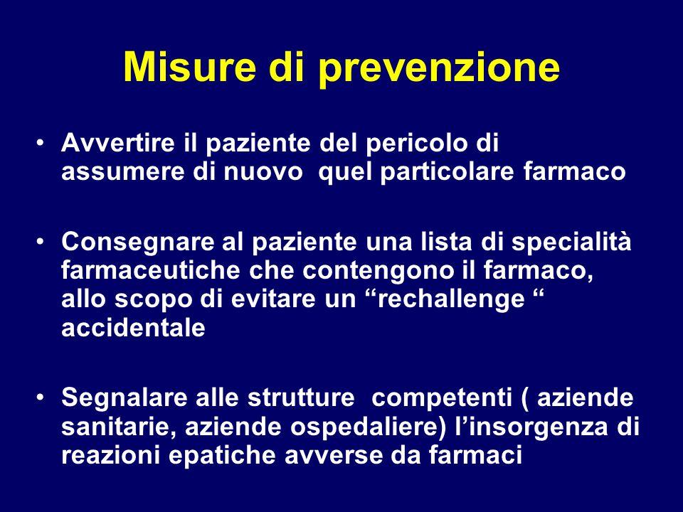 Misure di prevenzione Avvertire il paziente del pericolo di assumere di nuovo quel particolare farmaco.