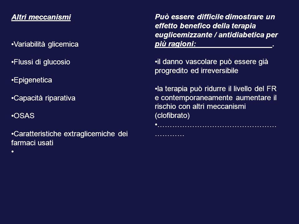Altri meccanismi Variabilità glicemica. Flussi di glucosio. Epigenetica. Capacità riparativa. OSAS.
