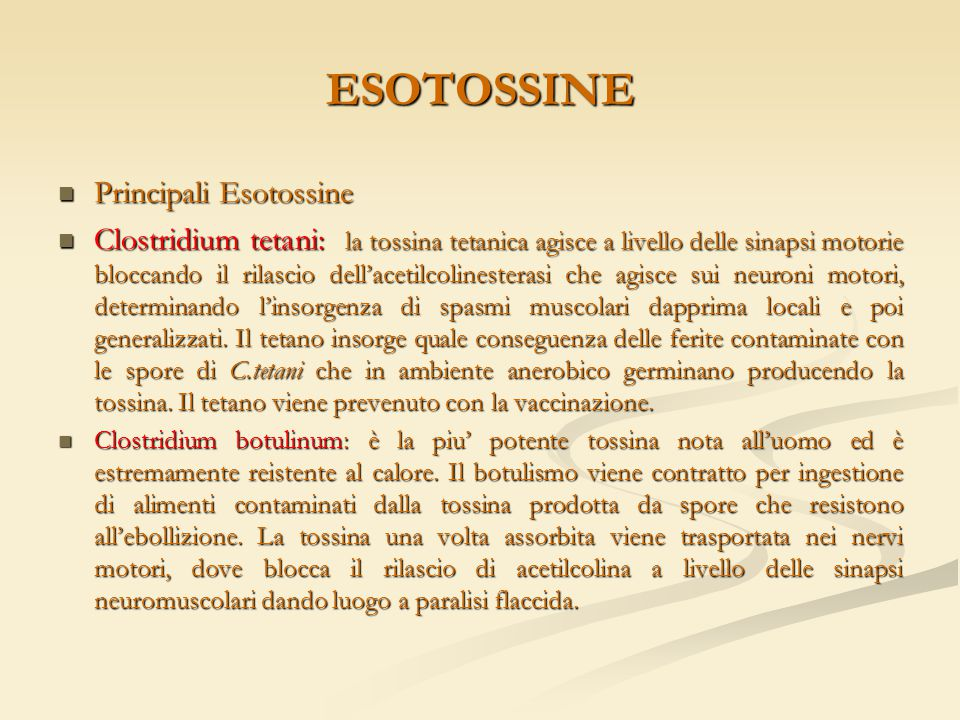 ESOTOSSINE Principali Esotossine