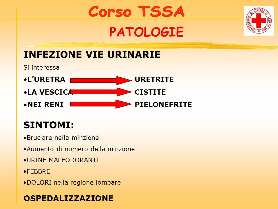 PATOLOGIE INFEZIONE VIE URINARIE SINTOMI: Corso TSSA OSPEDALIZZAZIONE