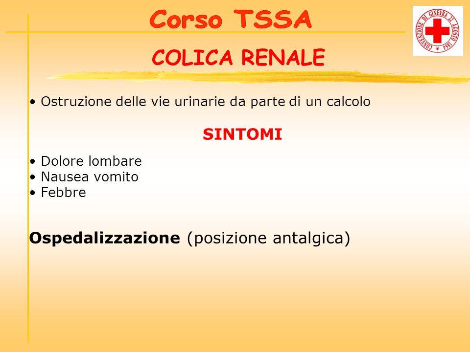 COLICA RENALE Ospedalizzazione (posizione antalgica) Corso TSSA