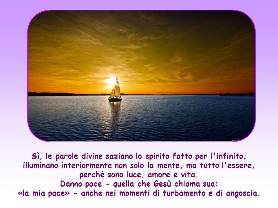 Sì, le parole divine saziano lo spirito fatto per l infinito; illuminano interiormente non solo la mente, ma tutto l essere, perché sono luce, amore e vita.