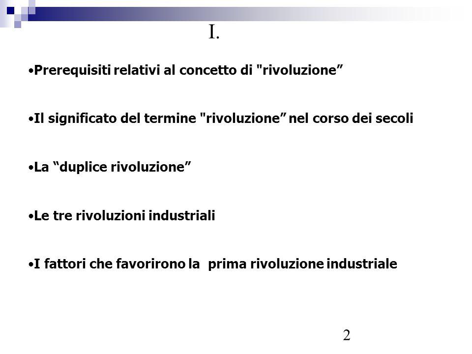 I. Prerequisiti relativi al concetto di rivoluzione