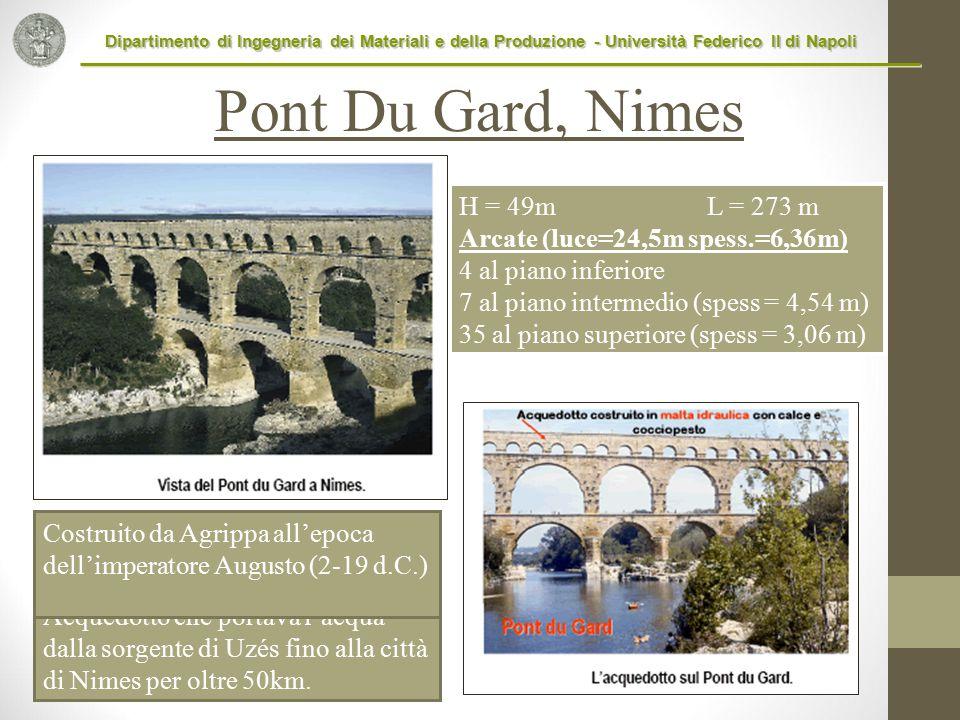 Pont Du Gard, Nimes H = 49m L = 273 m Arcate (luce=24,5m spess.=6,36m)