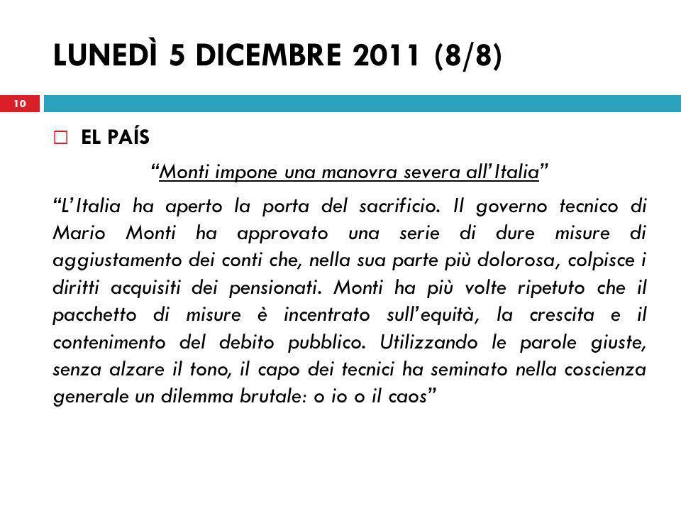 Monti impone una manovra severa all'Italia