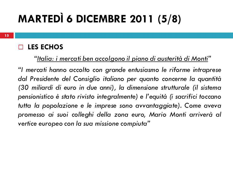 Italia: i mercati ben accolgono il piano di austerità di Monti