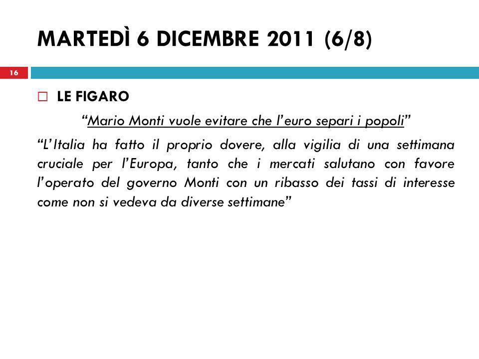 Mario Monti vuole evitare che l'euro separi i popoli