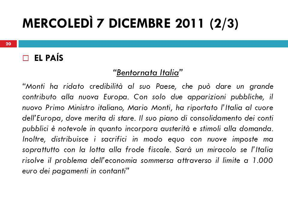 MERCOLEDÌ 7 DICEMBRE 2011 (2/3)