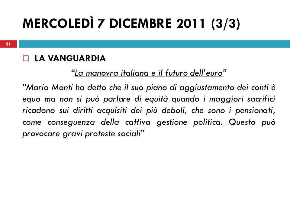 La manovra italiana e il futuro dell'euro