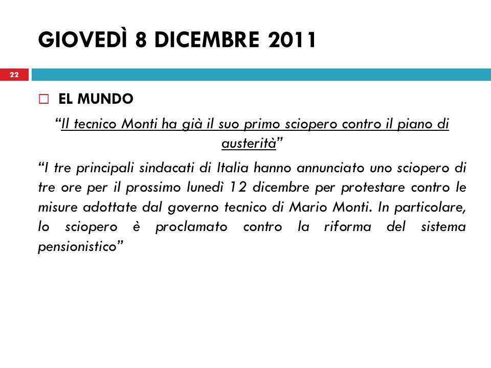 GIOVEDÌ 8 DICEMBRE 2011 EL MUNDO