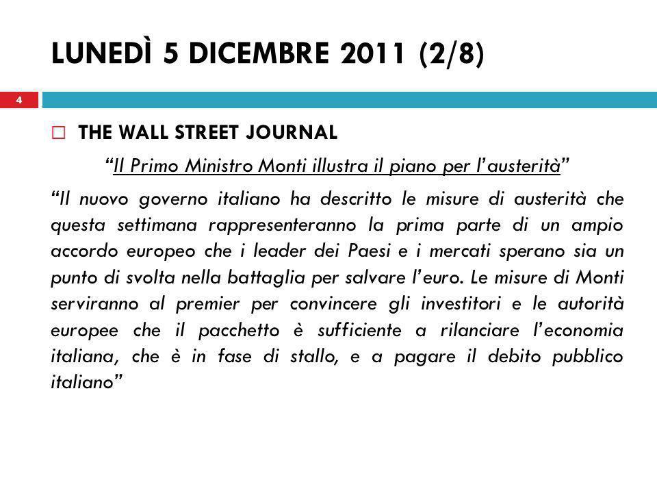 Il Primo Ministro Monti illustra il piano per l'austerità