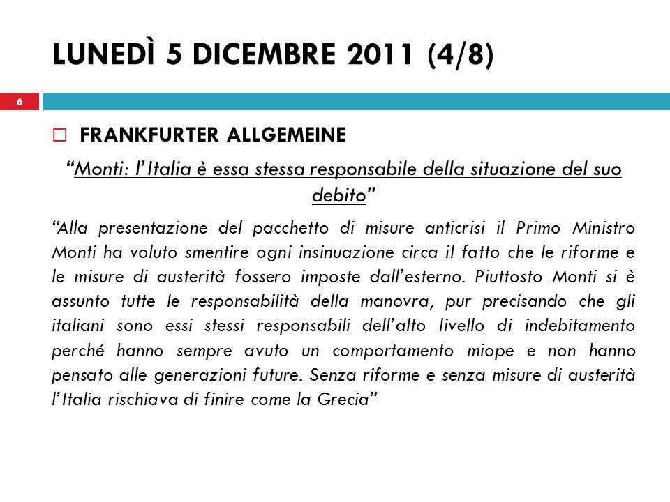LUNEDÌ 5 DICEMBRE 2011 (4/8) FRANKFURTER ALLGEMEINE