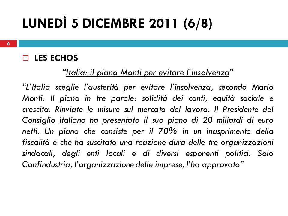 Italia: il piano Monti per evitare l'insolvenza