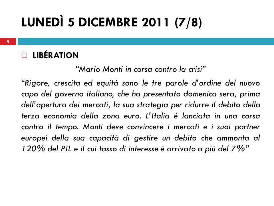 Mario Monti in corsa contro la crisi