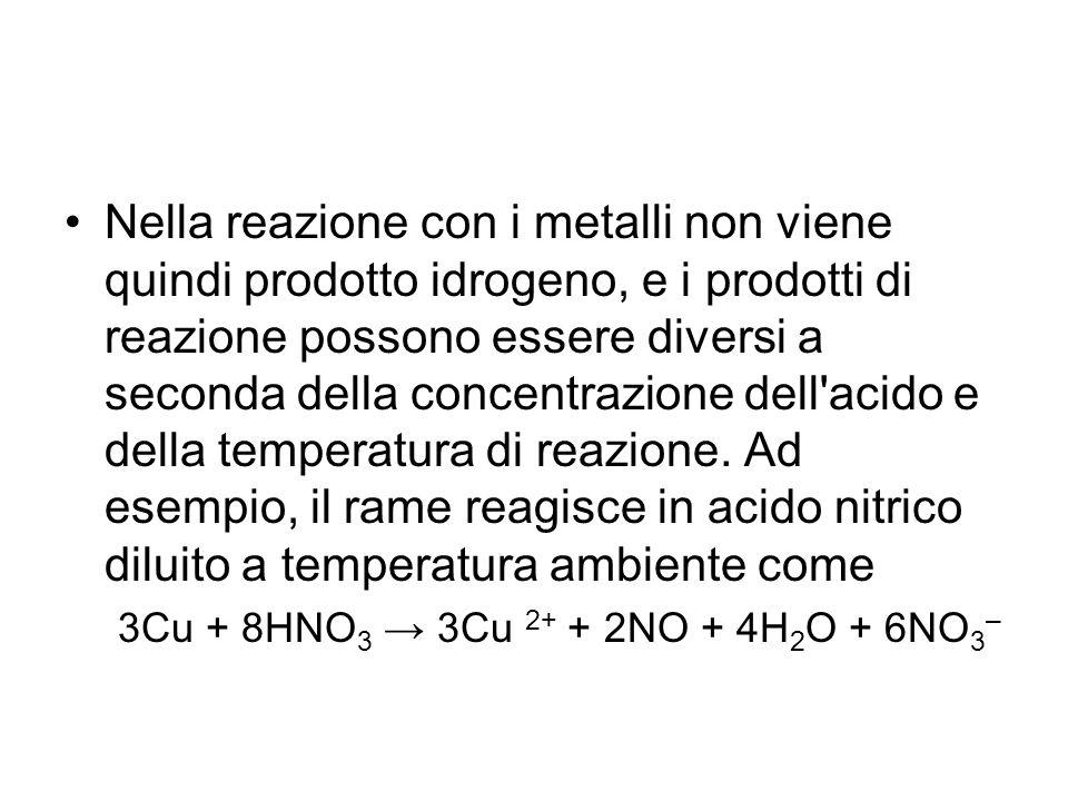 Nella reazione con i metalli non viene quindi prodotto idrogeno, e i prodotti di reazione possono essere diversi a seconda della concentrazione dell acido e della temperatura di reazione. Ad esempio, il rame reagisce in acido nitrico diluito a temperatura ambiente come