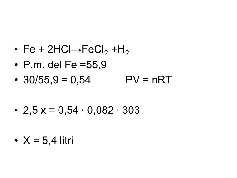 Fe + 2HCl→FeCl2 +H2 P.m. del Fe =55,9. 30/55,9 = 0,54 PV = nRT. 2,5 x = 0,54 · 0,082 · 303.