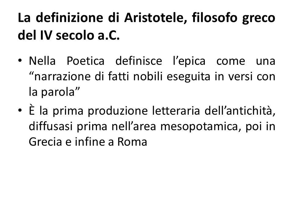 La definizione di Aristotele, filosofo greco del IV secolo a.C.
