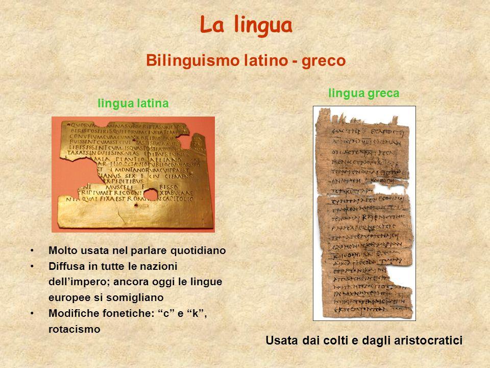 La lingua Bilinguismo latino - greco lingua greca lingua latina