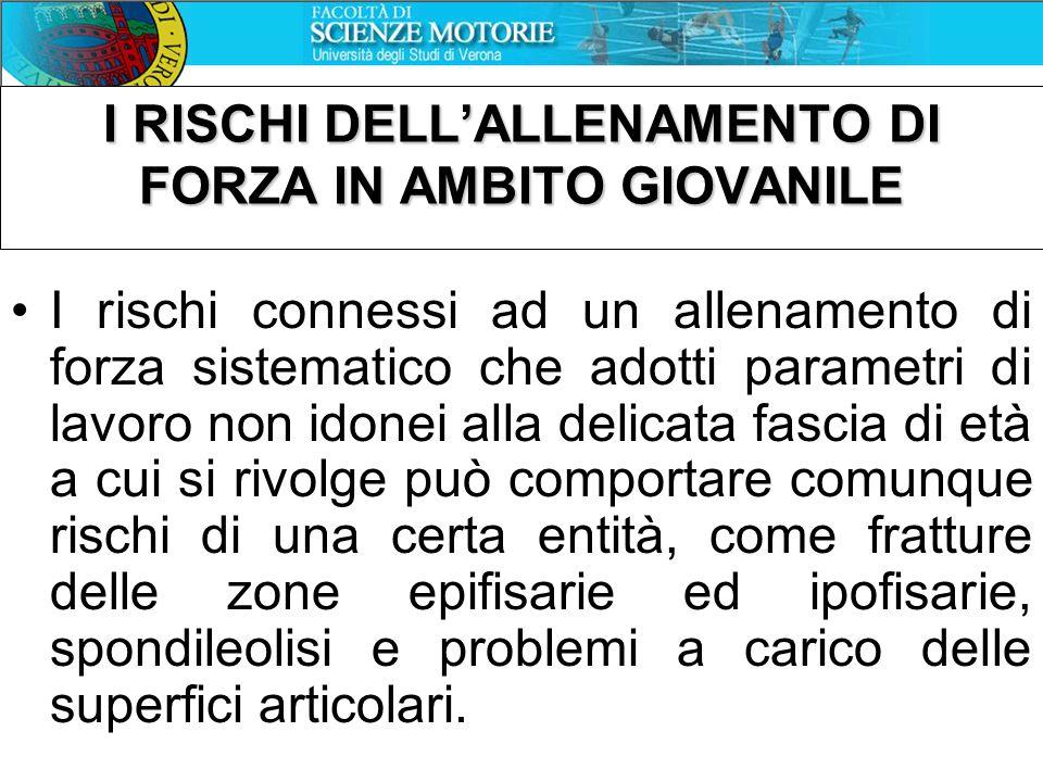 I RISCHI DELL'ALLENAMENTO DI FORZA IN AMBITO GIOVANILE