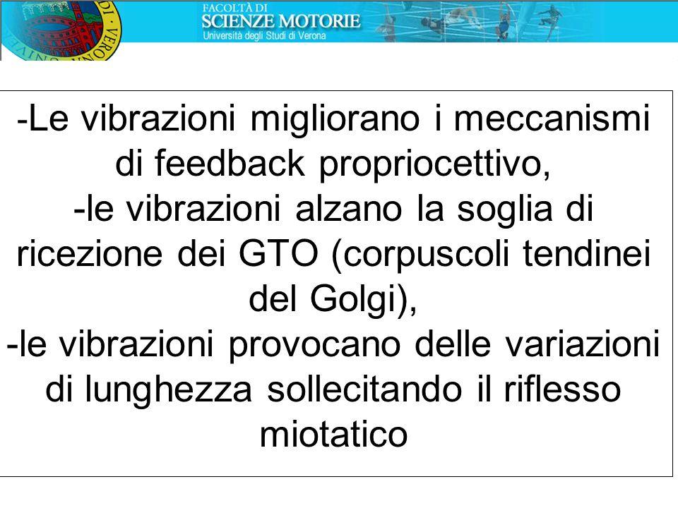 -Le vibrazioni migliorano i meccanismi di feedback propriocettivo, -le vibrazioni alzano la soglia di ricezione dei GTO (corpuscoli tendinei del Golgi), -le vibrazioni provocano delle variazioni di lunghezza sollecitando il riflesso miotatico