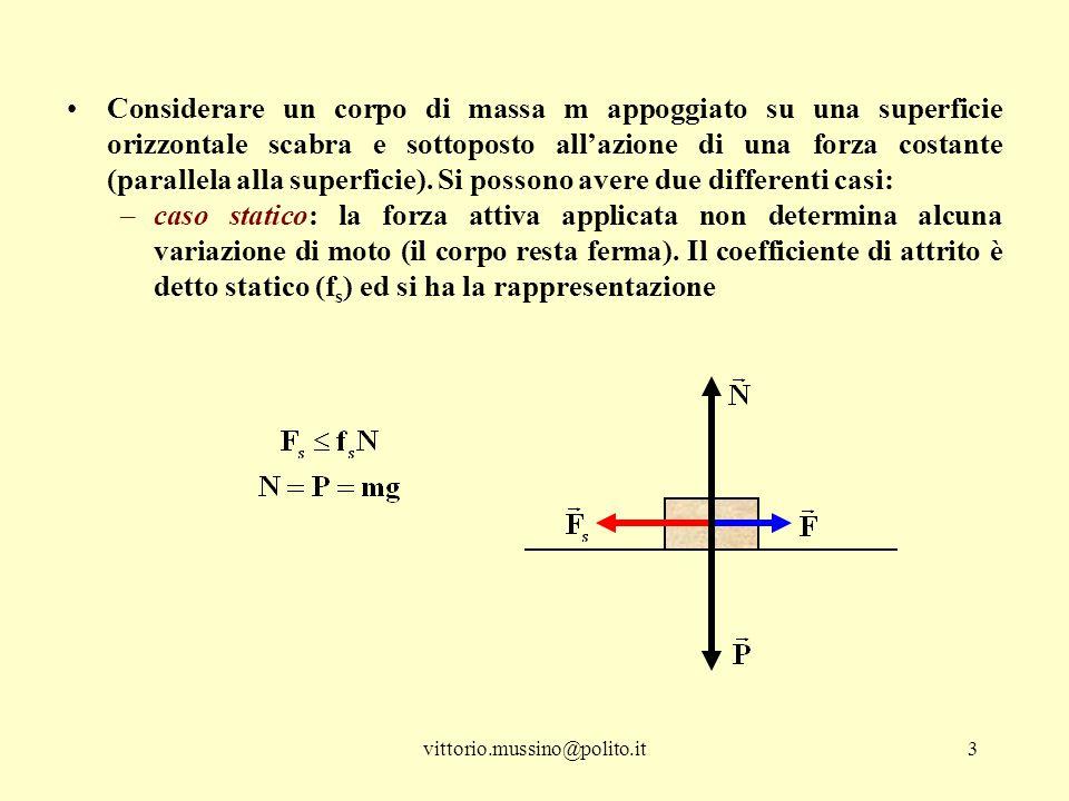 Considerare un corpo di massa m appoggiato su una superficie orizzontale scabra e sottoposto all'azione di una forza costante (parallela alla superficie). Si possono avere due differenti casi: