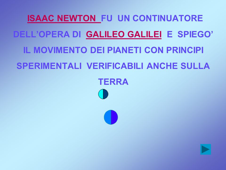 ISAAC NEWTON FU UN CONTINUATORE DELL'OPERA DI GALILEO GALILEI E SPIEGO' IL MOVIMENTO DEI PIANETI CON PRINCIPI SPERIMENTALI VERIFICABILI ANCHE SULLA TERRA