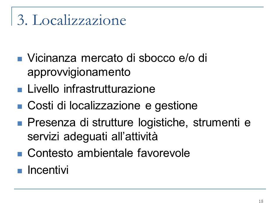 3. Localizzazione Vicinanza mercato di sbocco e/o di approvvigionamento. Livello infrastrutturazione.