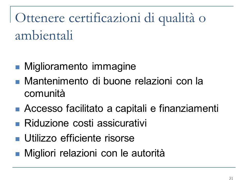 Ottenere certificazioni di qualità o ambientali