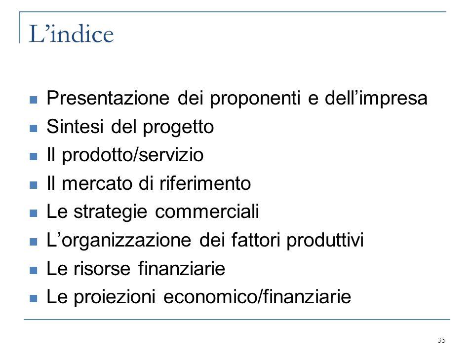 L'indice Presentazione dei proponenti e dell'impresa