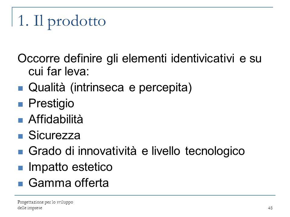 1. Il prodotto Occorre definire gli elementi identivicativi e su cui far leva: Qualità (intrinseca e percepita)