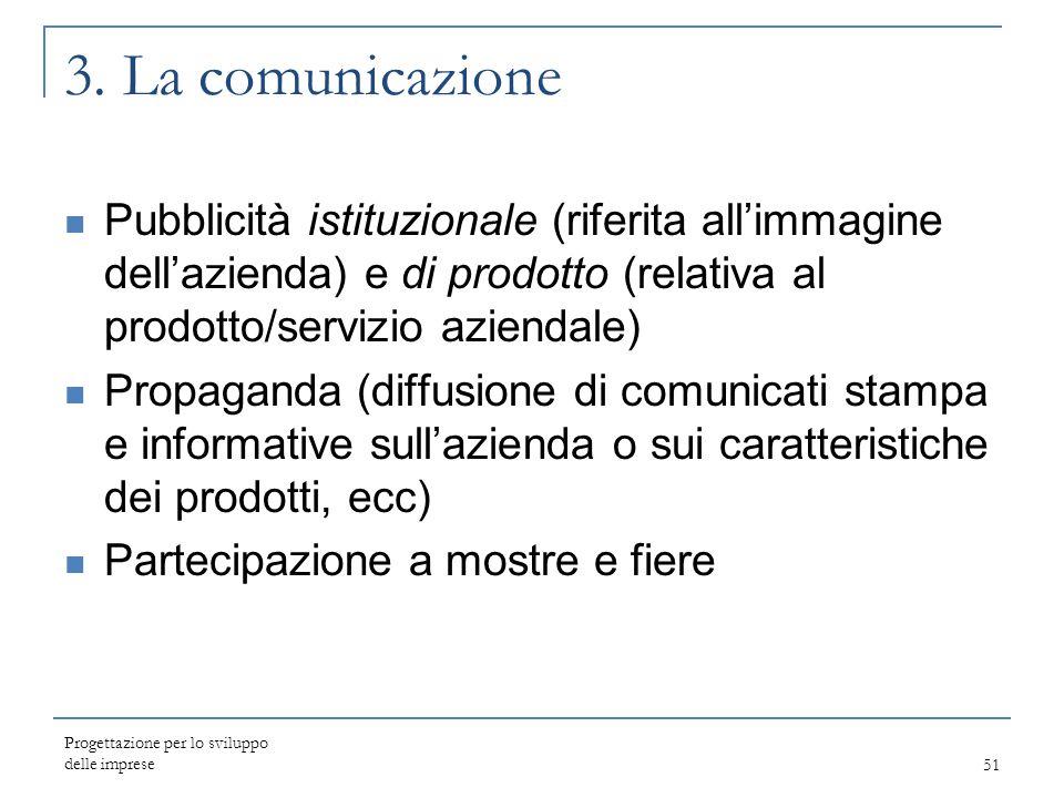 3. La comunicazione Pubblicità istituzionale (riferita all'immagine dell'azienda) e di prodotto (relativa al prodotto/servizio aziendale)