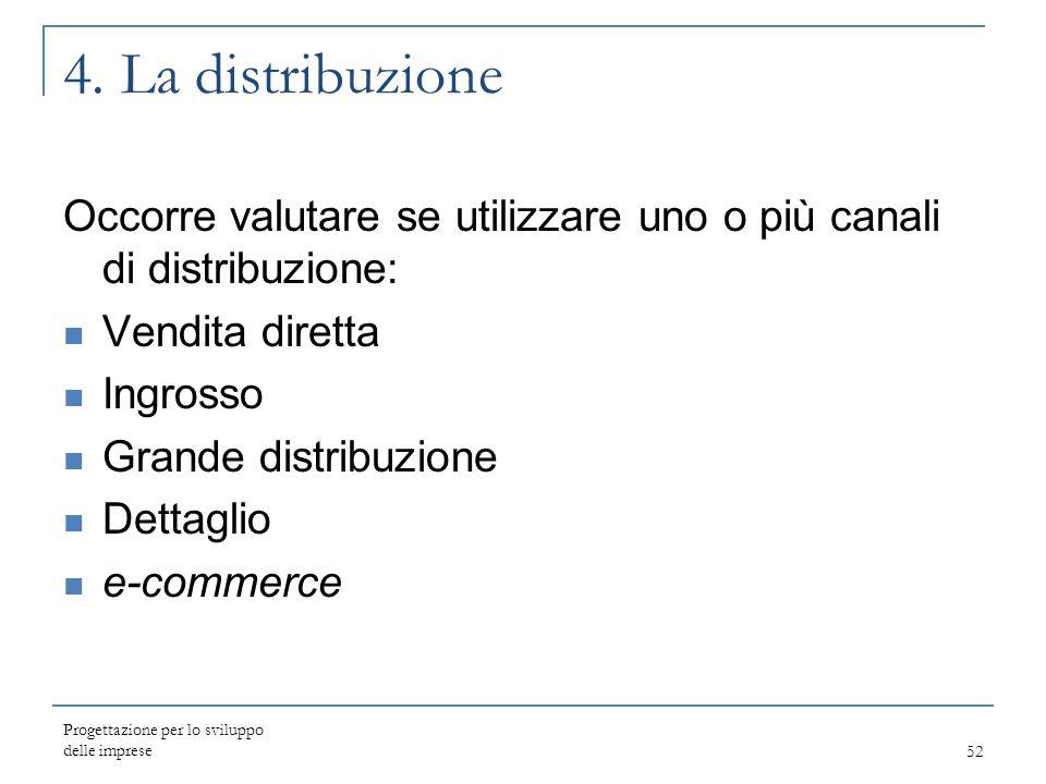 4. La distribuzione Occorre valutare se utilizzare uno o più canali di distribuzione: Vendita diretta.