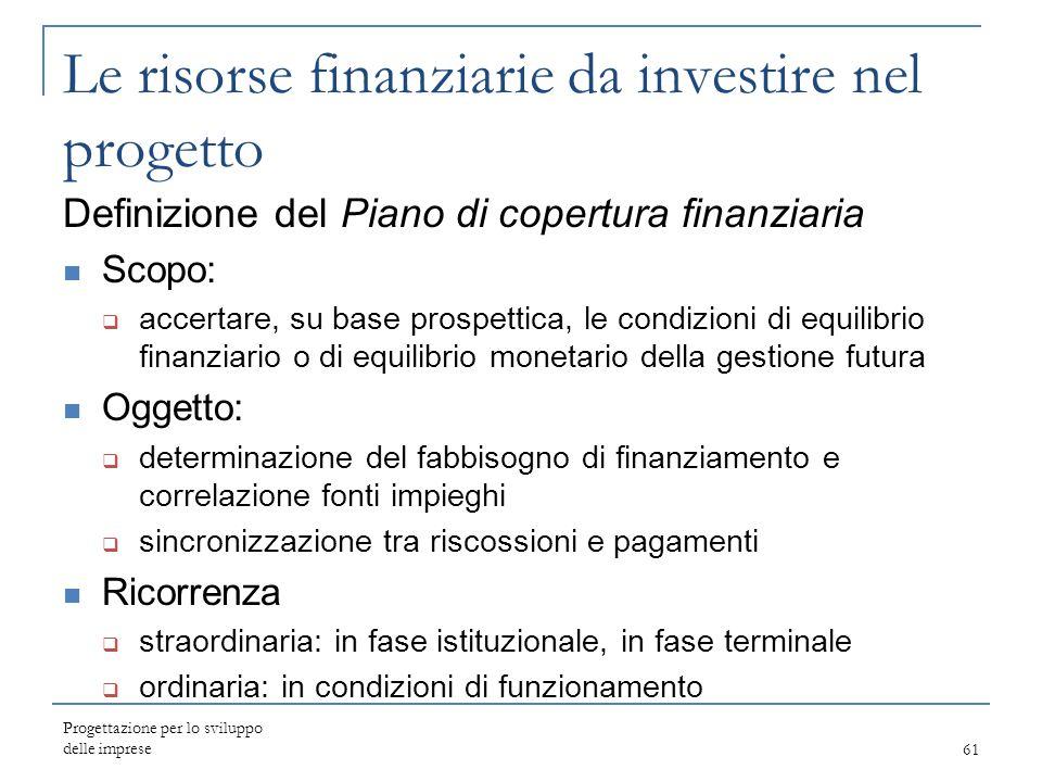 Le risorse finanziarie da investire nel progetto