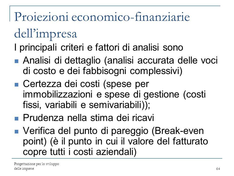 Proiezioni economico-finanziarie dell'impresa