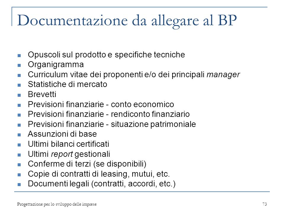 Documentazione da allegare al BP