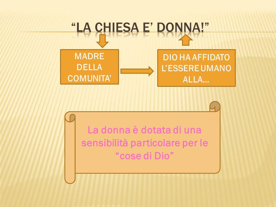 La chiesa e' donna! MADRE DELLA COMUNITA' DIO HA AFFIDATO L'ESSERE UMANO ALLA…