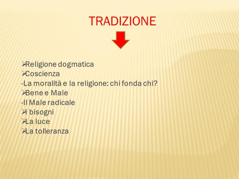 TRADIZIONE Religione dogmatica Coscienza