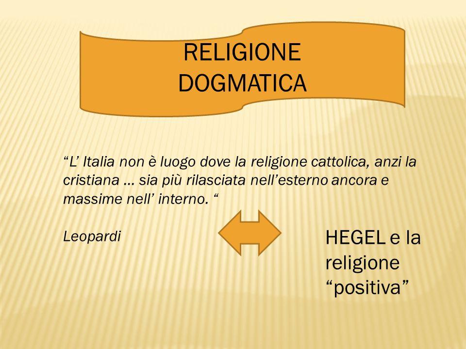 RELIGIONE DOGMATICA HEGEL e la religione positiva