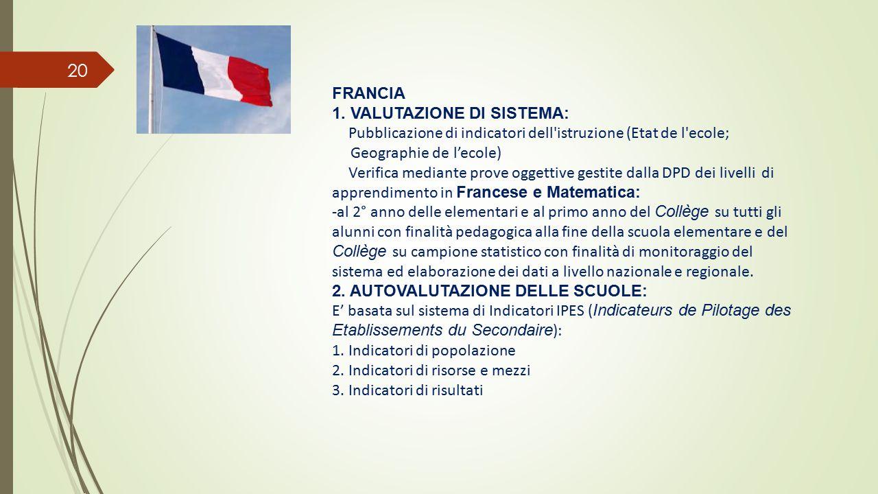 FRANCIA 1. VALUTAZIONE DI SISTEMA: Pubblicazione di indicatori dell istruzione (Etat de l ecole; Geographie de l'ecole)