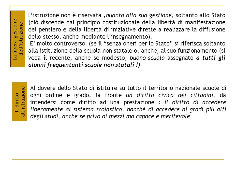 L'istruzione non è riservata ,quanto alla sua gestione, soltanto allo Stato (ciò discende dal principio costituzionale della libertà di manifestazione del pensiero e della libertà di iniziative dirette a realizzare la diffusione dello stesso, anche mediante l'insegnamento).