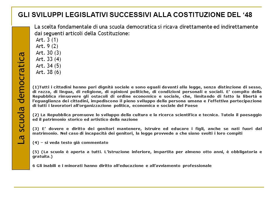 GLI SVILUPPI LEGISLATIVI SUCCESSIVI ALLA COSTITUZIONE DEL '48