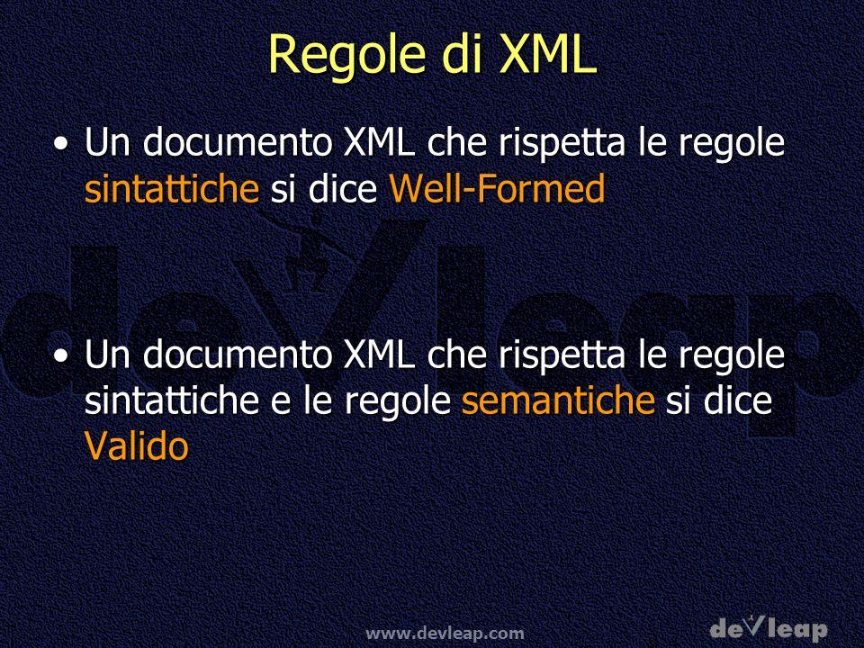 Regole di XML Un documento XML che rispetta le regole sintattiche si dice Well-Formed.
