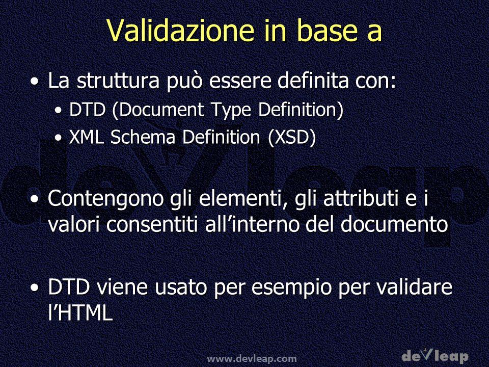 Validazione in base a La struttura può essere definita con: