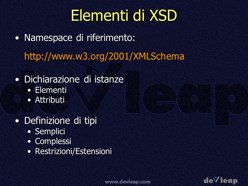 Elementi di XSDNamespace di riferimento: http://www.w3.org/2001/XMLSchema. Dichiarazione di istanze.
