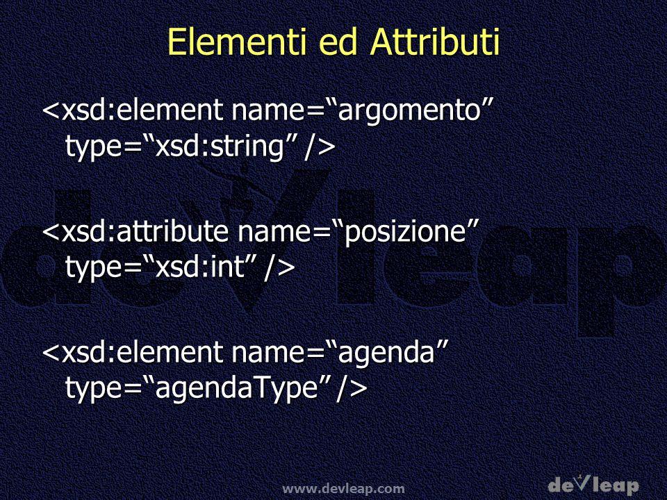 Elementi ed Attributi<xsd:element name= argomento type= xsd:string /> <xsd:attribute name= posizione type= xsd:int />