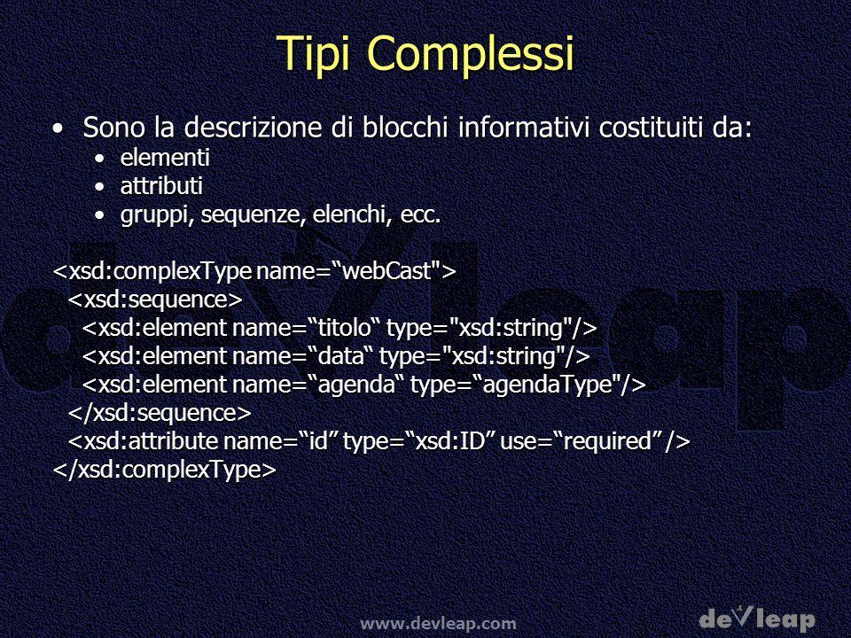 Tipi Complessi Sono la descrizione di blocchi informativi costituiti da: elementi. attributi. gruppi, sequenze, elenchi, ecc.